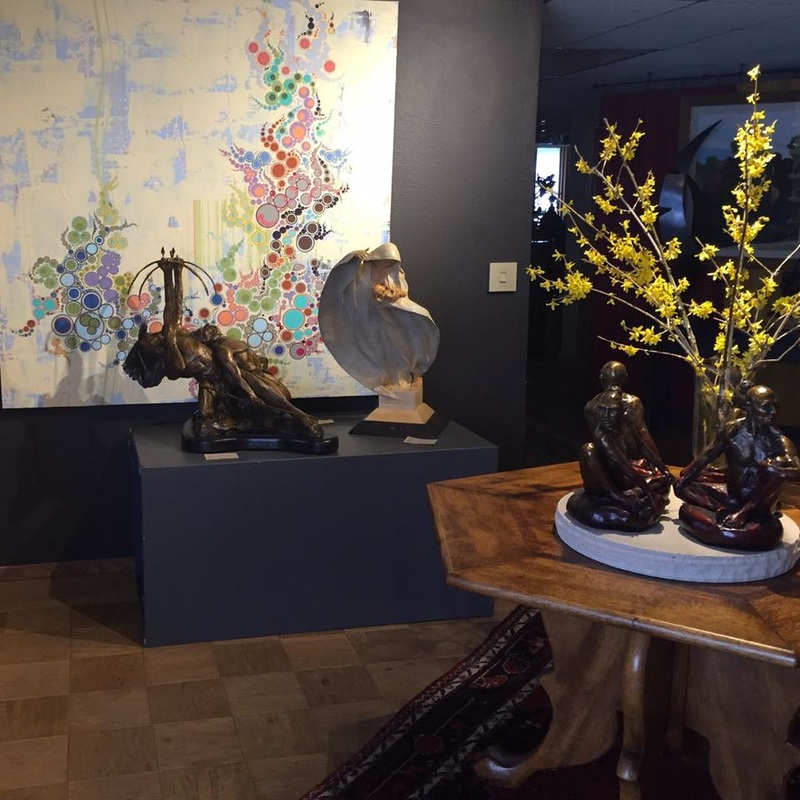 Forsythia Fine Art Denny Haskew Sculpture Amelia Caruso Painting at Columbine Gallery, Loveland, CO