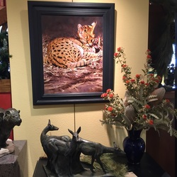 Tony Pridham painting Contented Serval available at Columbine Gallery