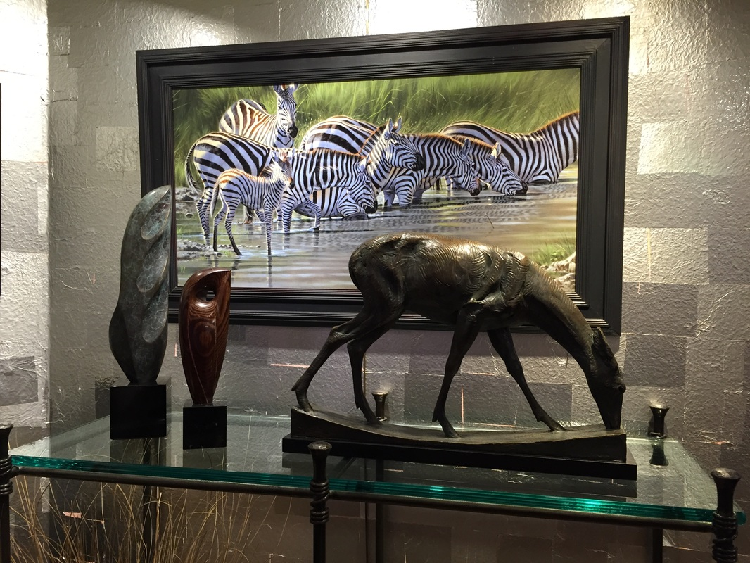 Tony Pridham zebra painting Cautious Approach available at Columbine Gallery