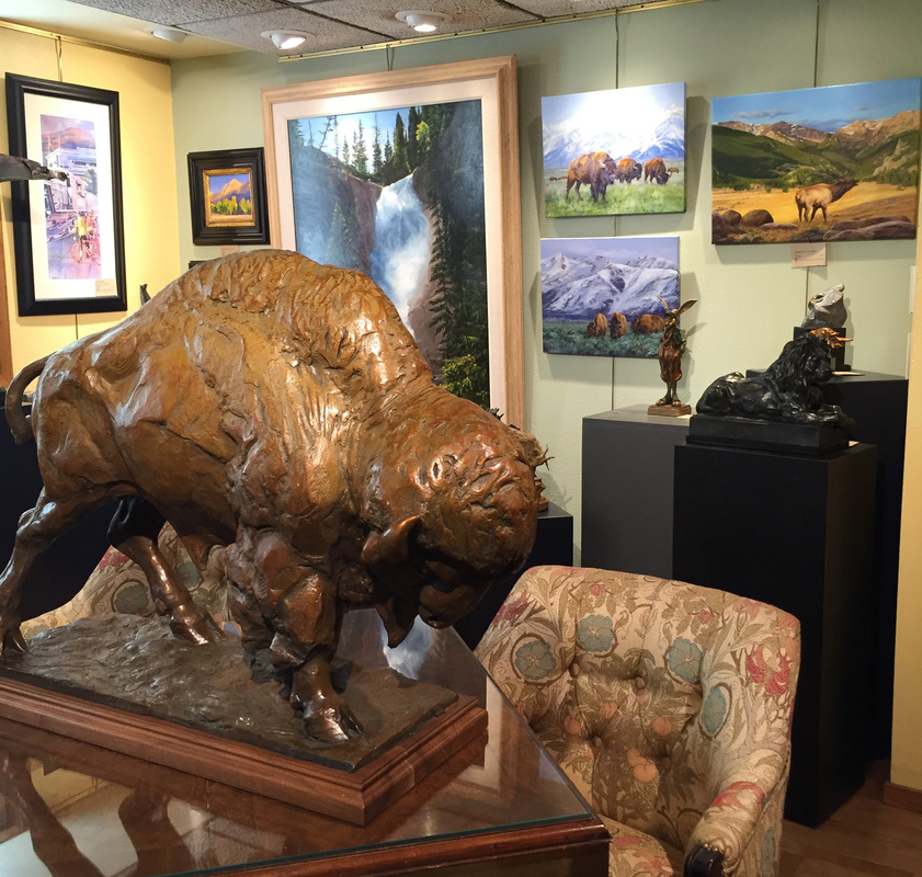 Buffalo Art by Sandy Scott sculpture, Gary Miller paintings at Columbine Gallery