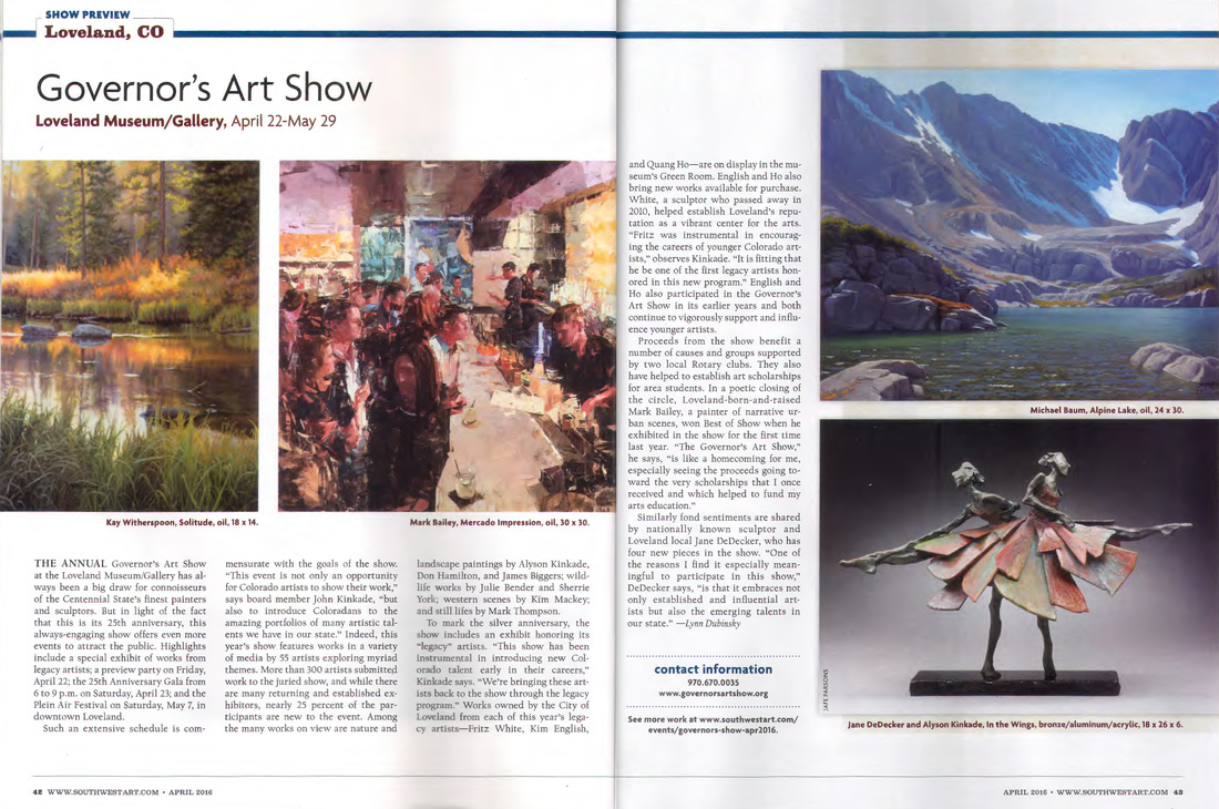 Southwest Art Magazine coverage of the upcoming 25th Annual Governor's Art Show John Kinkade, Columbine Gallery, National Sculptors' Guild, Loveland, Colorado, April Show, Artist Demos, Quang Ho, Kim English, Fritz White, Jane DeDecker, Alyson Kinkade, Rotary, Scholarship