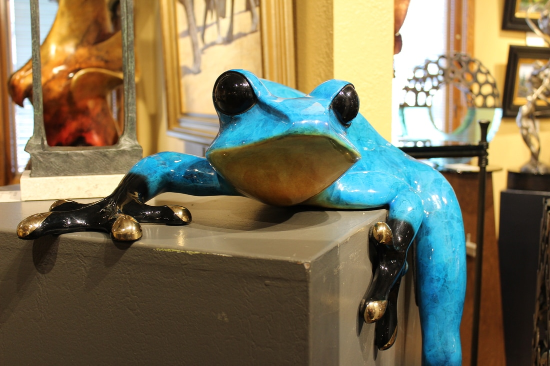 A client is seeking new owners for their large bronze frogs by Tim Cotterill - The Frogman. We're sort of excited to have these fun pieces in the gallery and garden. Of course we'd be happy to have them jump ponds to your place if you are ready to add these striking pieces to your collection.   ​Click here for details.... Bamboo and Big Bill