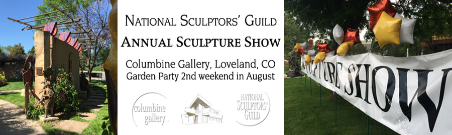 National Sculptors' Guild Annual Sculpture Show at Columbine Gallery 2nd weekend in August artist demos in NSG Sculpture Garden