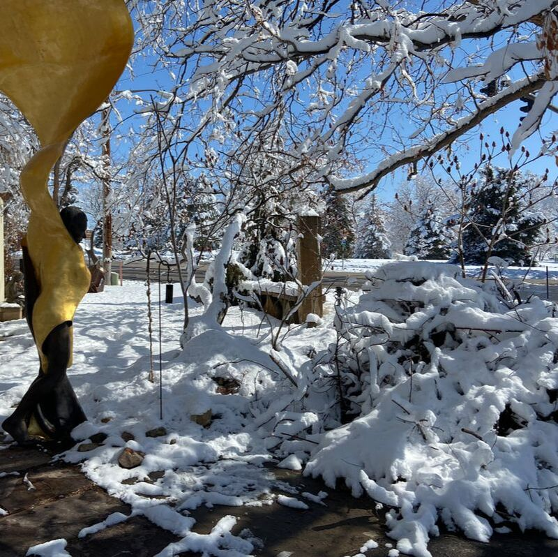Between Spring Snows we're getting the National Sculptors' Guild Sculpture Garden cleaned up. We hope to get to share the space with you again soon. Until then, shop online and enjoy this virtual tour, stay safer in place and we'll keep you posted on when we will be physically open again. #NationalSculptorsGuild #ColumbineGallery #SculptureGarden #JKDesigns #ClosedForCovid #SpringCleaning #Gardening #Landscaping #ArtAndFlowers #ArtandSnow #ColoradoLiving #SpringSnow