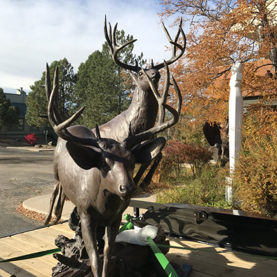"Curtis Zabel's bronze Mule Deer sculpture ""The Escape"" is heading out of the National Sculptors' Guild Sculpture Garden for temporary display at the entry of Embassy Suites Loveland. We think it looks great! Make it yours, click here"