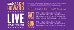 Live Mural Painting by Zach Howard August 2016 at Columbine Gallery, mural going to Mo'Betta Gumbo's new expansion downtown loveland post show