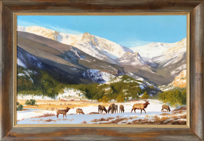 "Oil painting by GARY MILLER available at Columbine Gallery Colorado's Largest Fine Art Source Specialists in Public Art and Home Decor Being an admirer of Mother Nature, Gary is inspired by the roaring waterfalls, bugling elk, and mountain vistas that have surrounded him most of his life. Primarily an oil painter; his landscapes and wildlife paintings reflect this appreciation. Gary Miller was born in Oklahoma, but moved to Pueblo, Colorado at an early age. As a child, Gary found immense pleasure in painting and drawing. What started as a recreational activity soon blossomed into a lifelong passion. Gary worked with Union Pacific Railroad after receiving a Bachelor of Arts degree from Southern Colorado State College in 1972 (now Colorado State University – Pueblo). He retired from the railroad in 2010 and began painting full time. In 1987, the Colorado Cattleman's Association magazine, ""The Cattle Guard"", featured Gary's painting on its cover. Over the years he has been widely collected and has shown in galleries throughout Colorado; as well as Taos, New Mexico; Oklahoma; Kansas; and Wyoming. One of Gary's painting is displayed in the visitor center of the Japanese sister city to Abilene, Kansas. He now resides in the mountains west of Fort Collins, Colorado with his wife, Tammie, in a home they built together."
